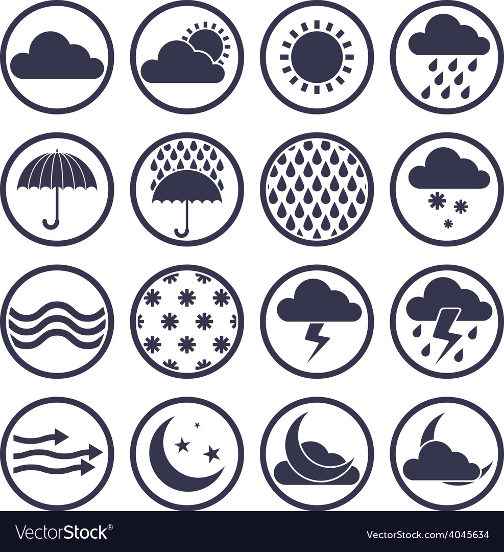 Weather icons isolated on white background set vector | Price: 1 Credit (USD $1)