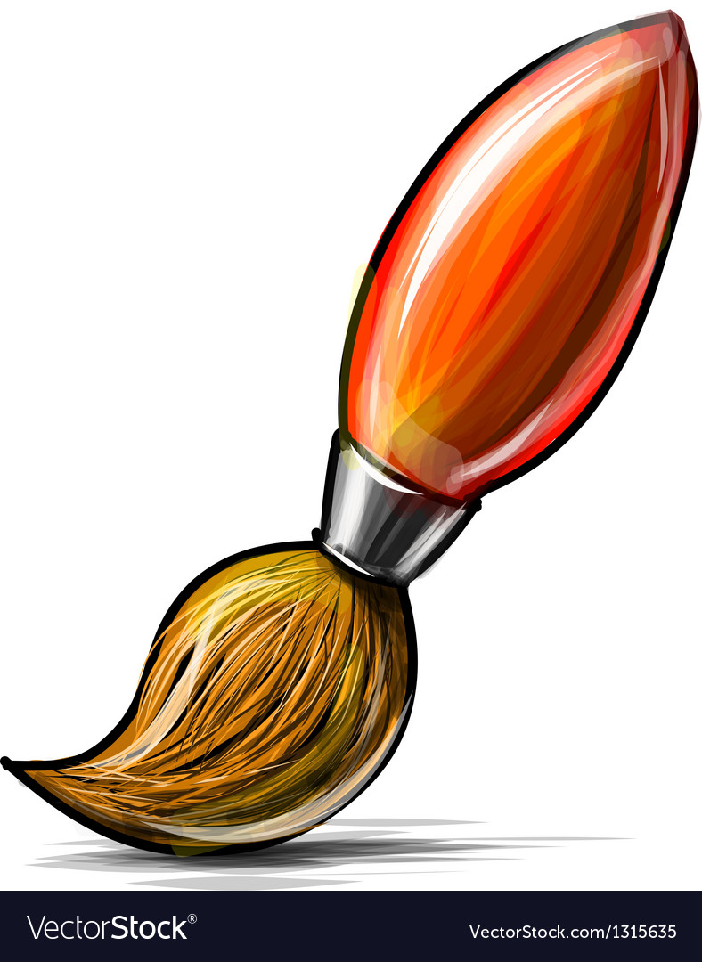Artist paint brush icon isolated on white vector | Price: 3 Credit (USD $3)