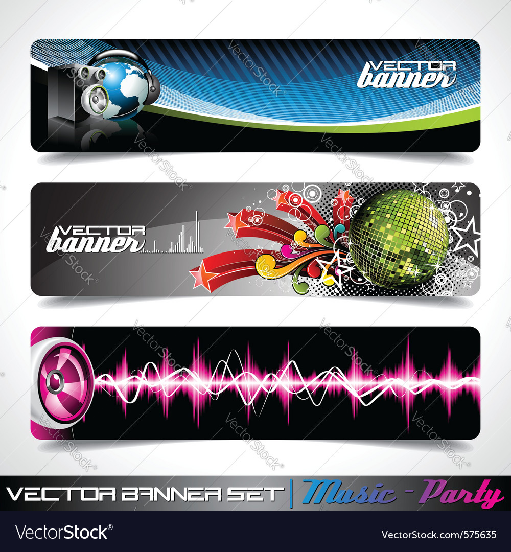 Banner set on a music and party theme vector | Price: 3 Credit (USD $3)