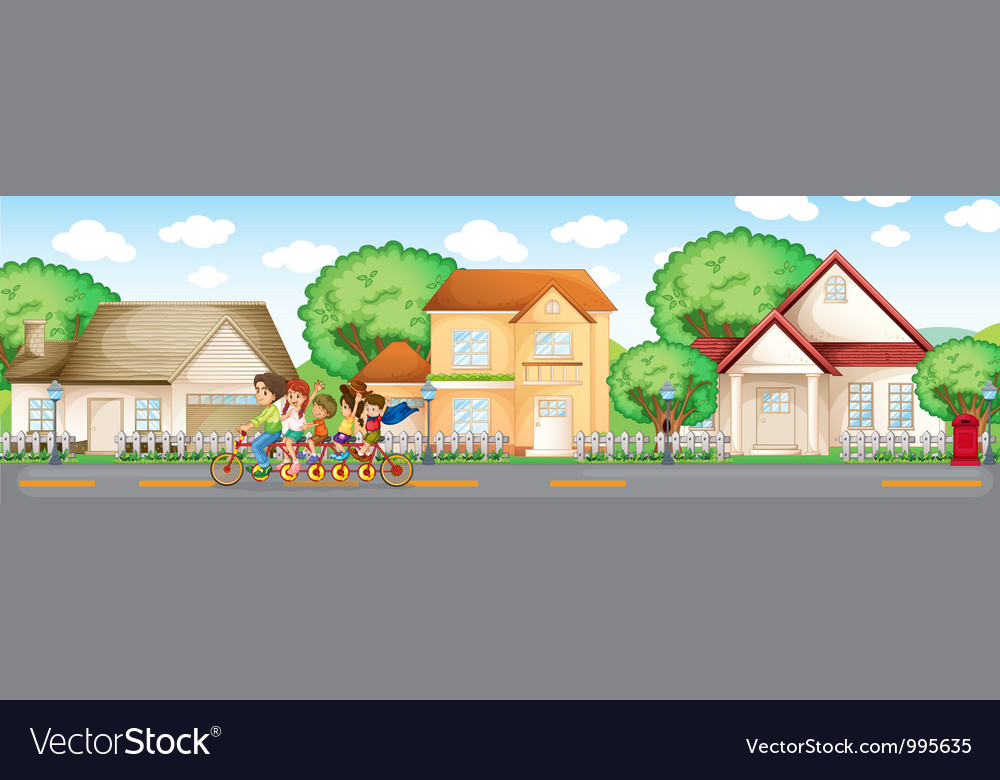 Family bike ride vector | Price: 1 Credit (USD $1)