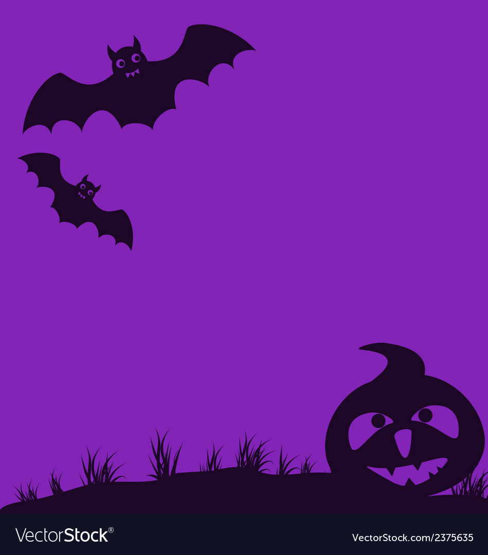 Halloween background with pumpkin and bats vector | Price: 1 Credit (USD $1)