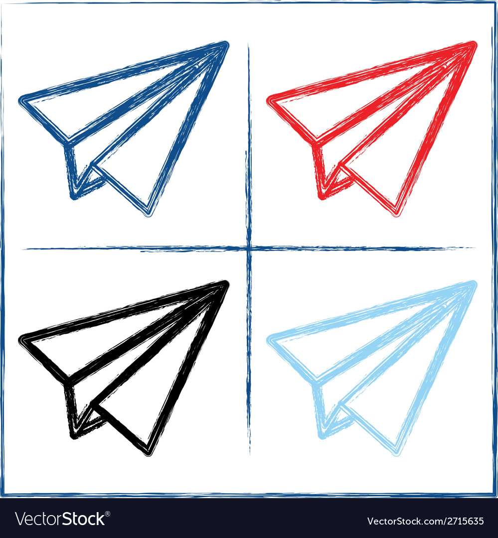 Hand drawn paper planes vector | Price: 1 Credit (USD $1)