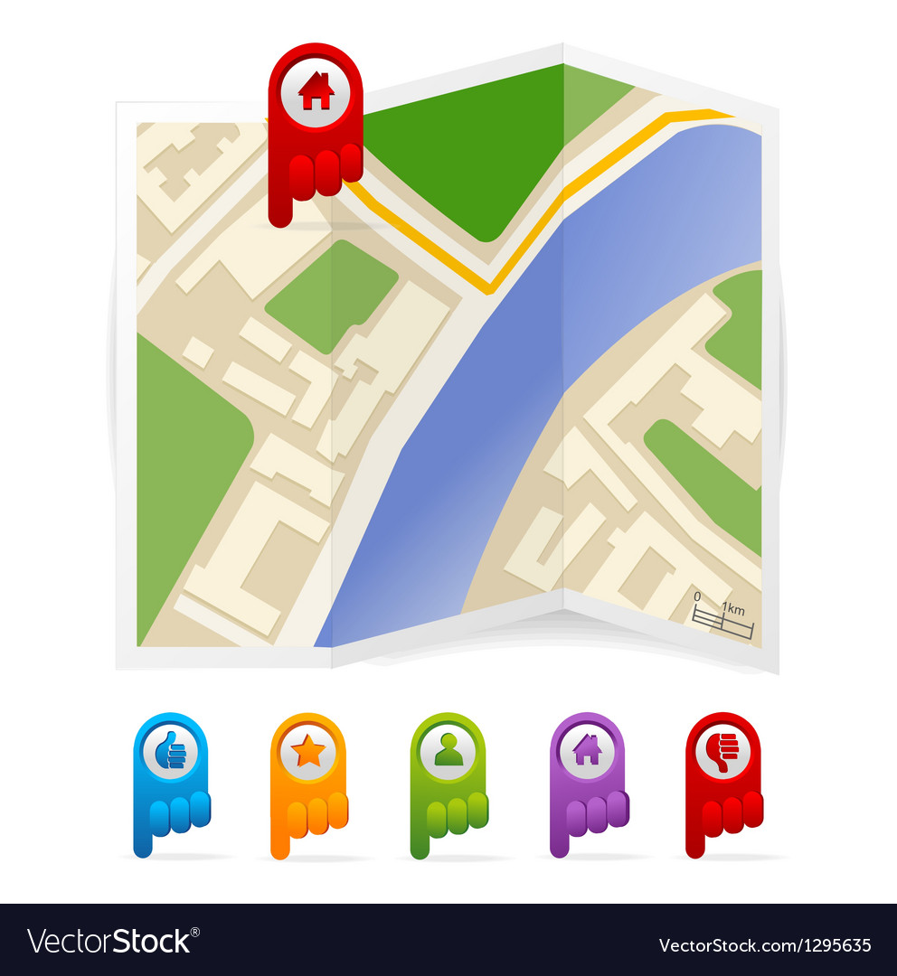 Map with navigation icons vector | Price: 1 Credit (USD $1)