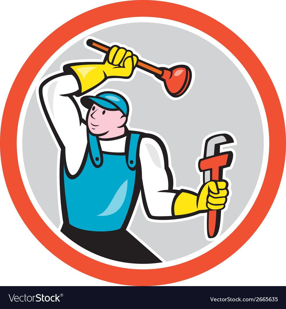 Plumber holding wrench plunger cartoon vector | Price: 1 Credit (USD $1)