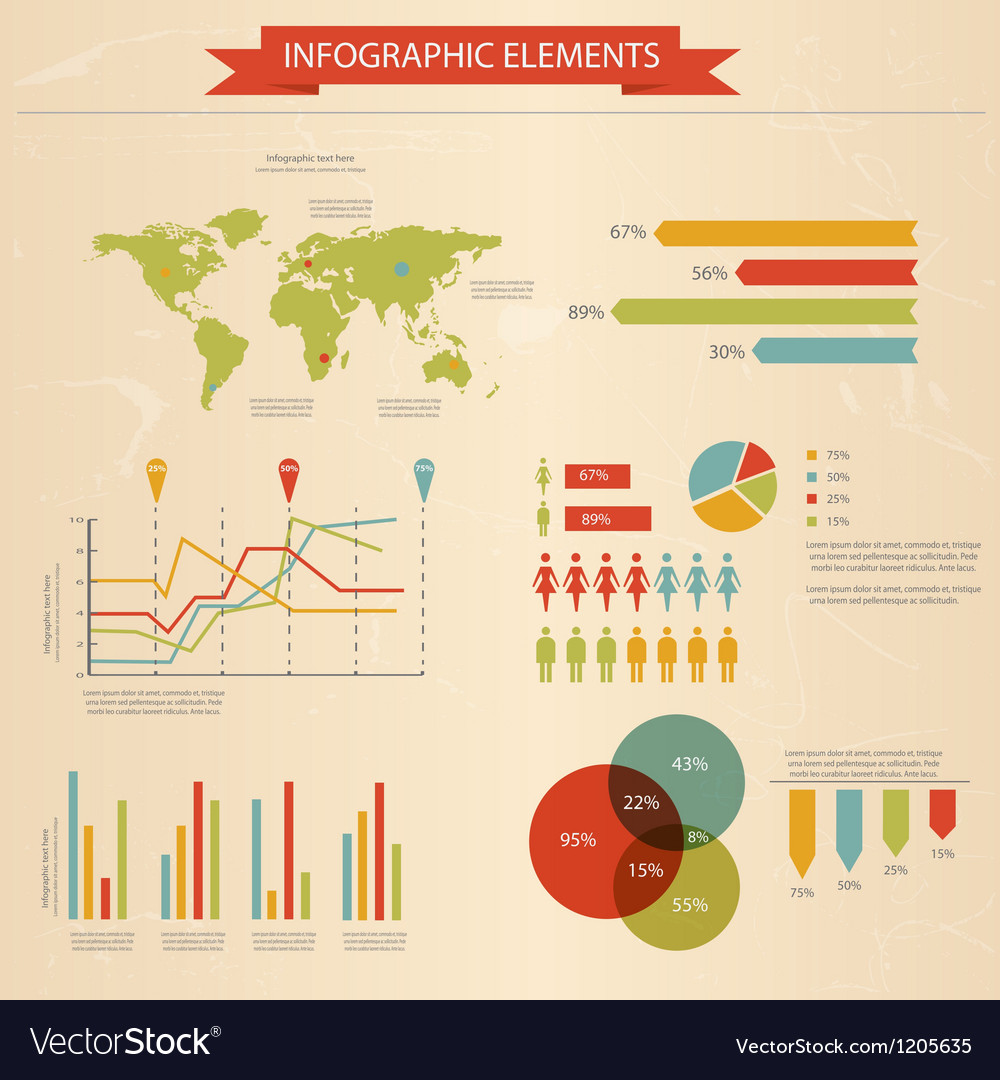 Retro infographics set 2 vector | Price: 1 Credit (USD $1)
