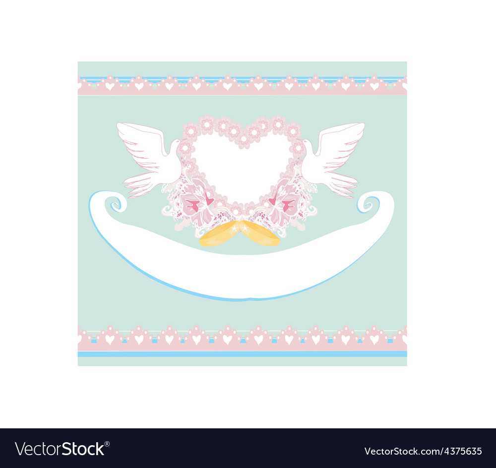Romantic card with love birds - wedding invitation vector | Price: 1 Credit (USD $1)