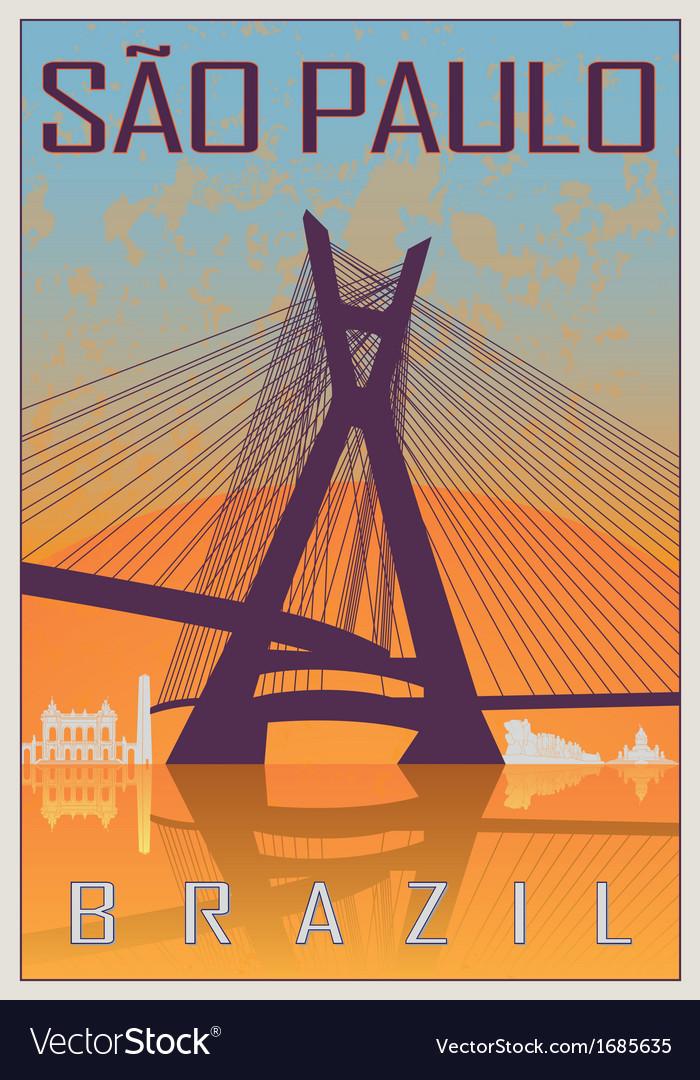 Sao paulo vintage poster vector | Price: 1 Credit (USD $1)