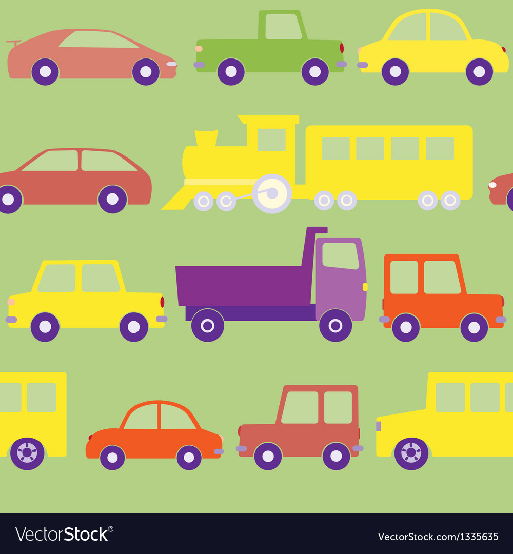 Seamless pattern with cars vector | Price: 1 Credit (USD $1)