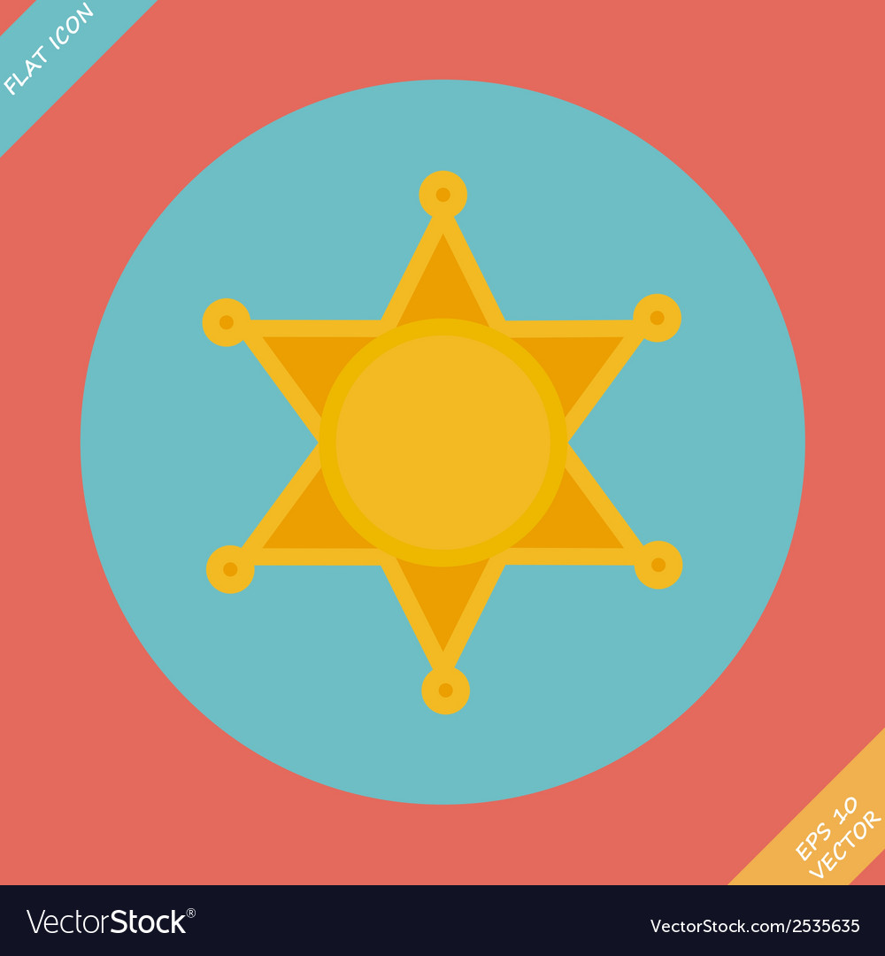 Sheriff star icon - vector | Price: 1 Credit (USD $1)