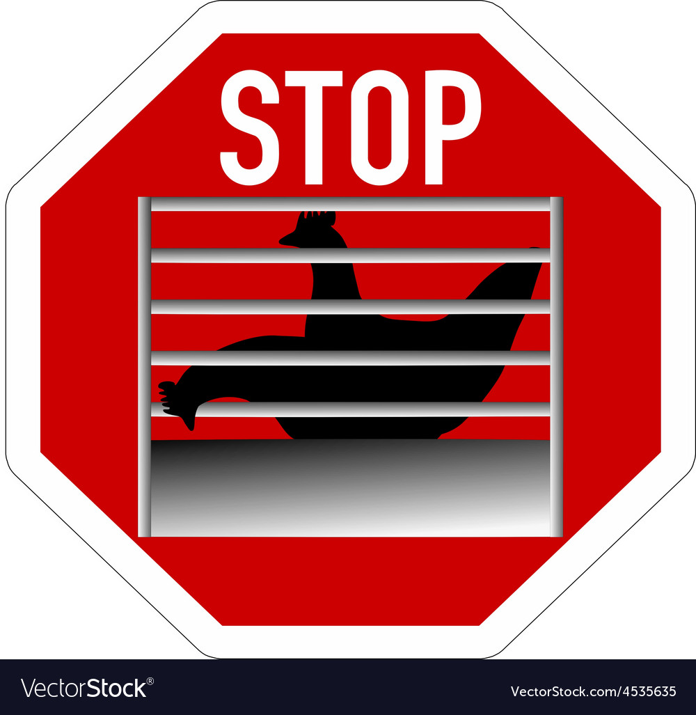 Stop sign caging of hen vector | Price: 1 Credit (USD $1)