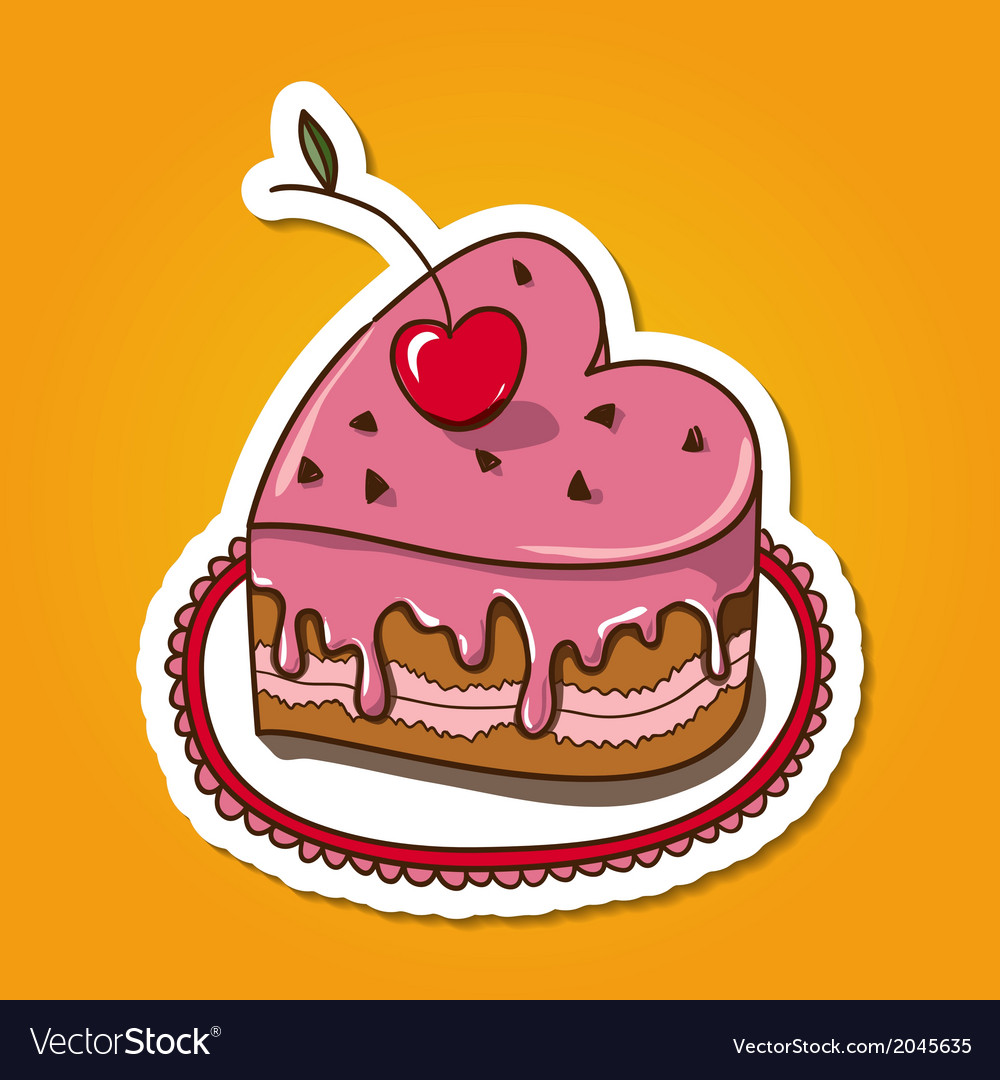 Sweet heart shaped cake vector | Price: 1 Credit (USD $1)