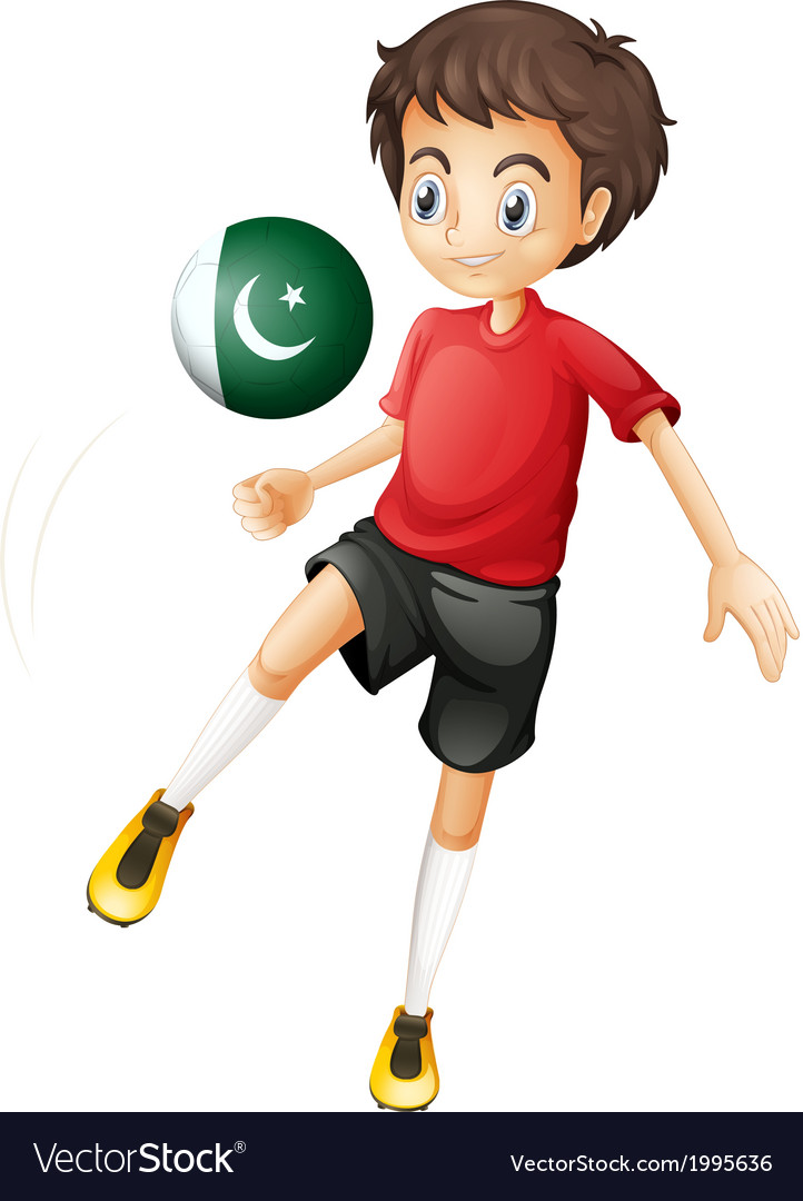 A boy using the ball with the pakistan flag vector | Price: 1 Credit (USD $1)