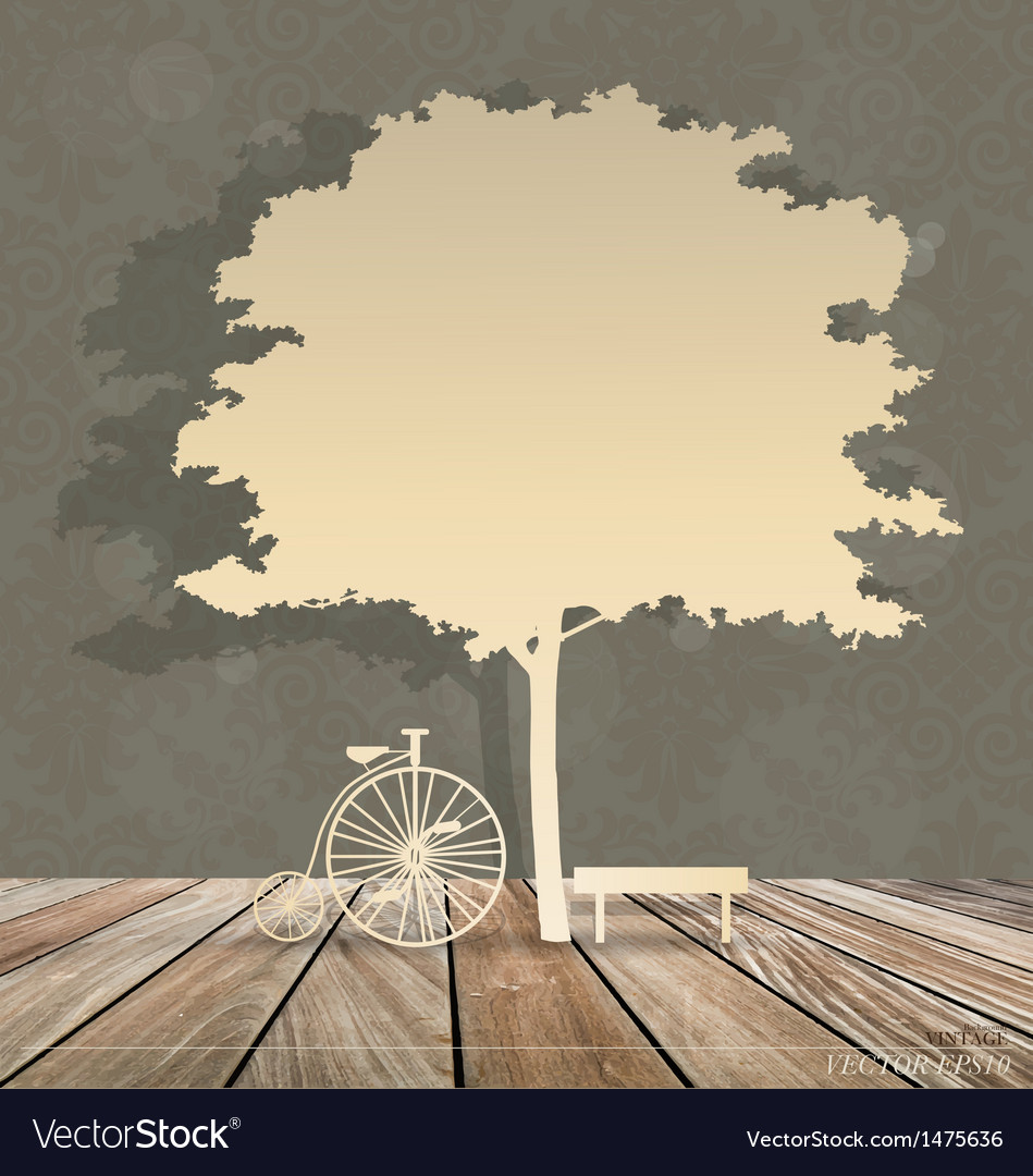 Abstract background with bicycle under tree vector | Price: 1 Credit (USD $1)