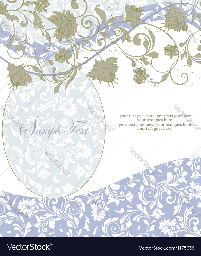 Abstract floral and swirl invitation card vector | Price: 1 Credit (USD $1)