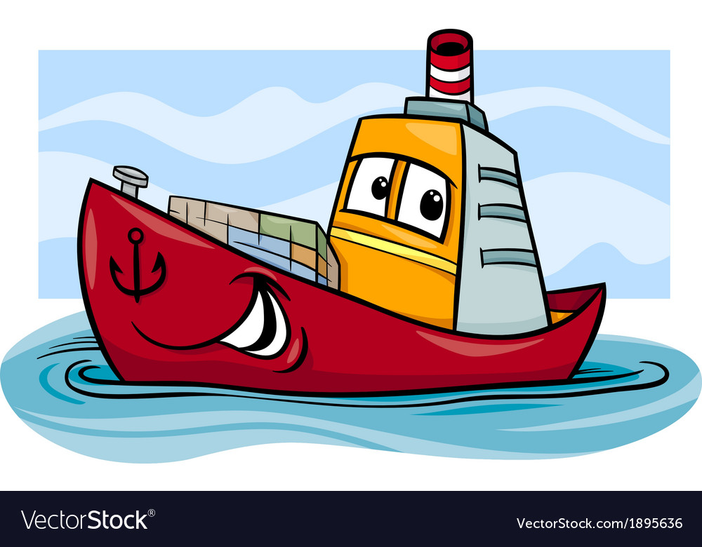 Container ship cartoon vector | Price: 1 Credit (USD $1)