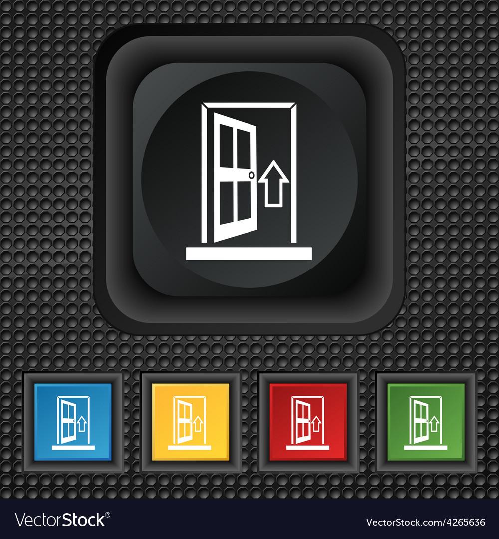 Door enter or exit icon sign symbol squared vector   Price: 1 Credit (USD $1)
