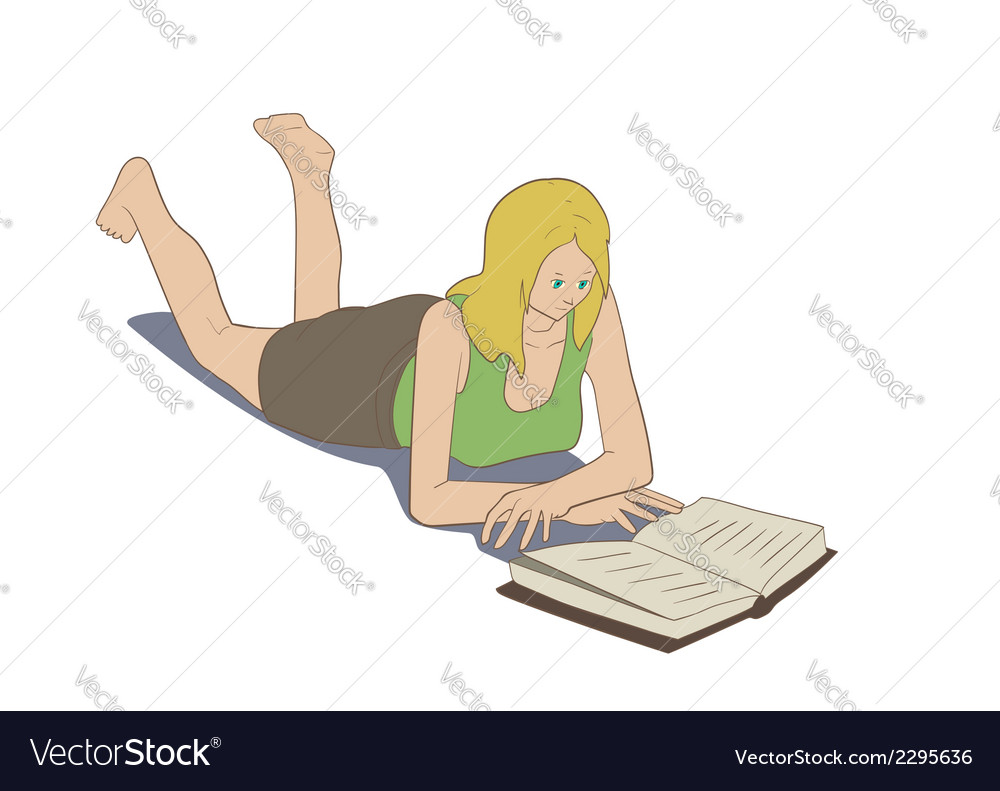 Girl lying reading book vector | Price: 1 Credit (USD $1)