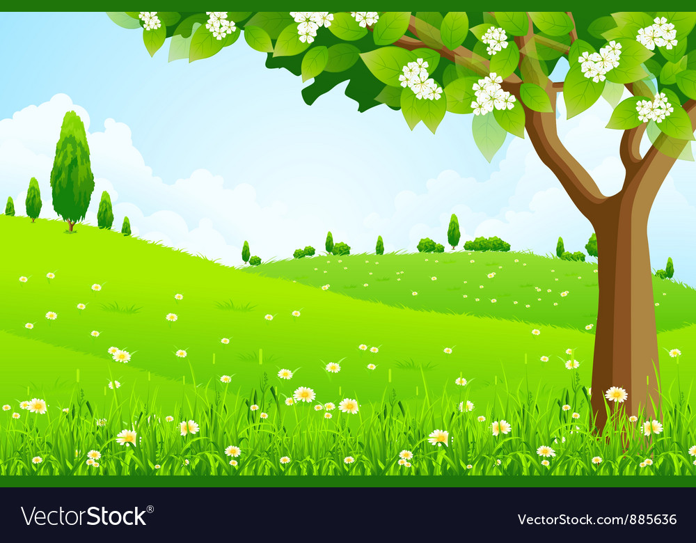 Green landscape with tree vector | Price: 3 Credit (USD $3)