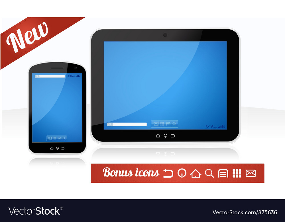 Mobile app tablet and smartphone combo vector | Price: 1 Credit (USD $1)