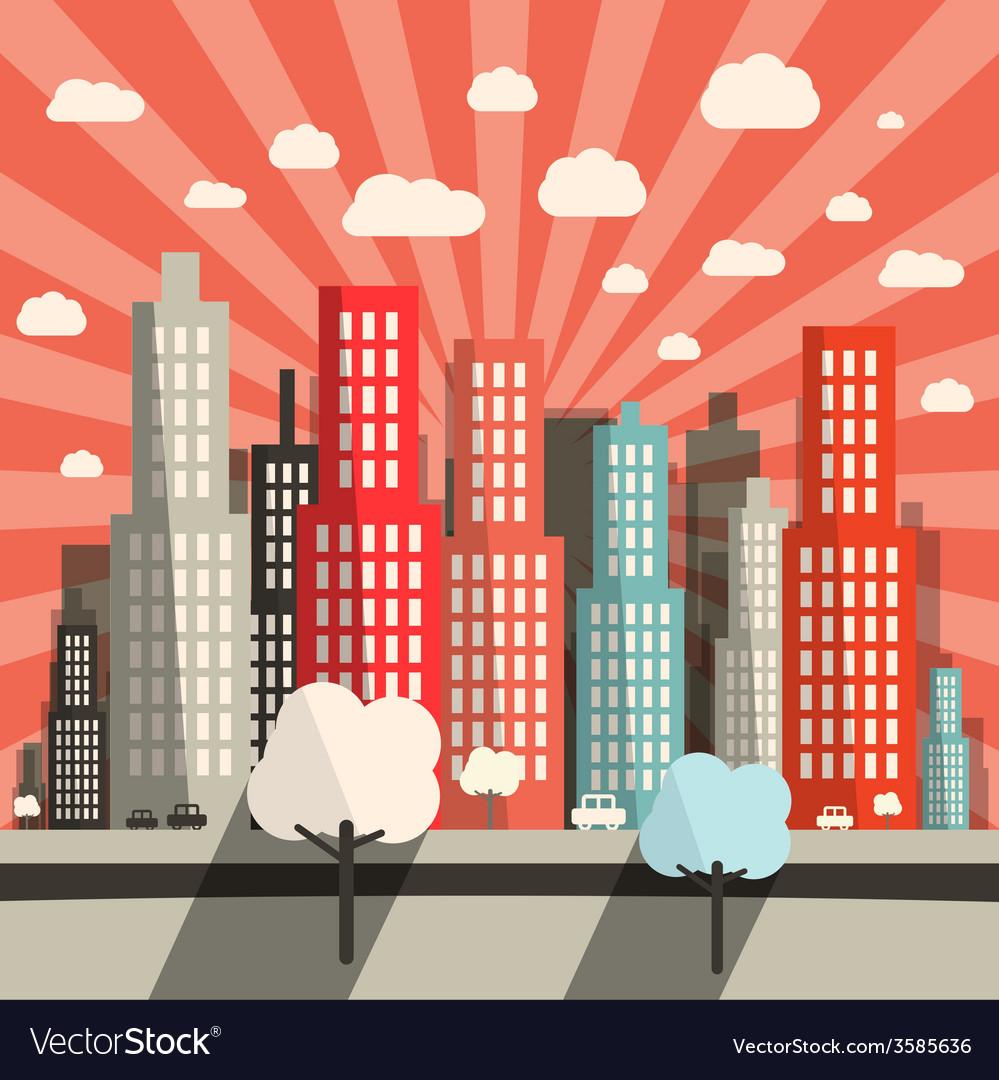 Morning - evening flat design city vector | Price: 1 Credit (USD $1)