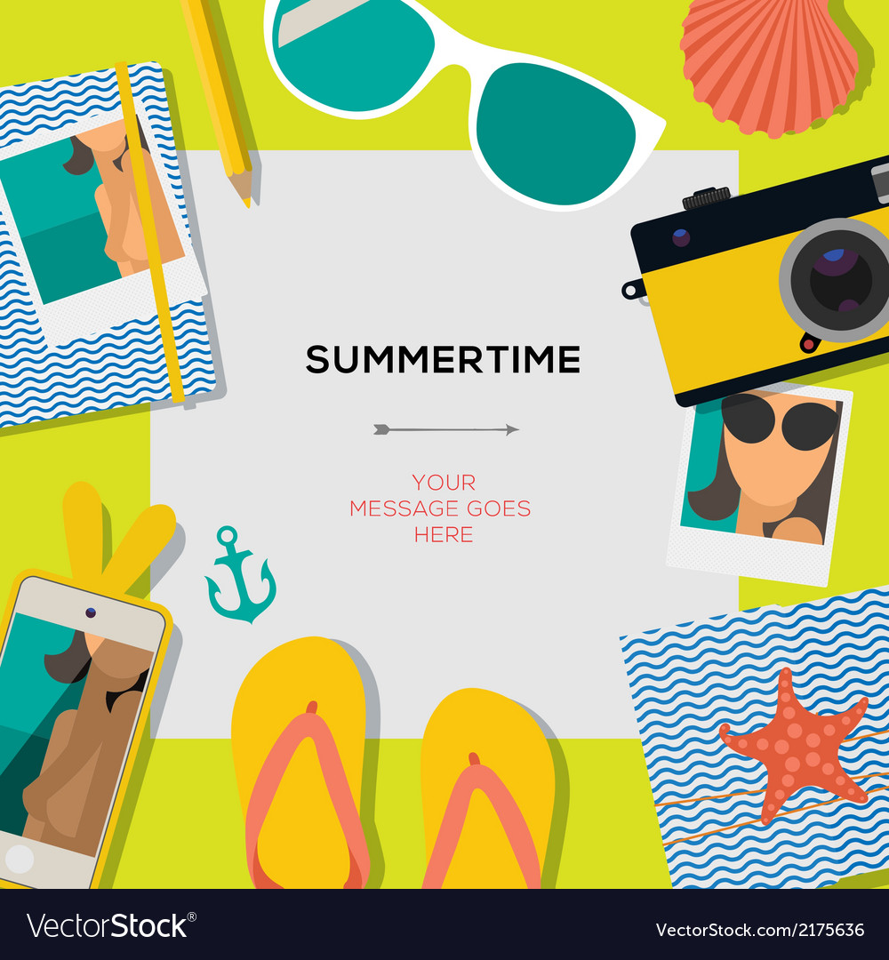 Summertime travel template with traveling vector | Price: 1 Credit (USD $1)