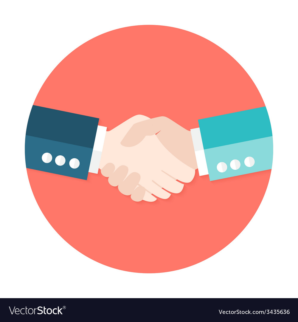 Two businessmen shaking hands flat circle icon vector | Price: 1 Credit (USD $1)