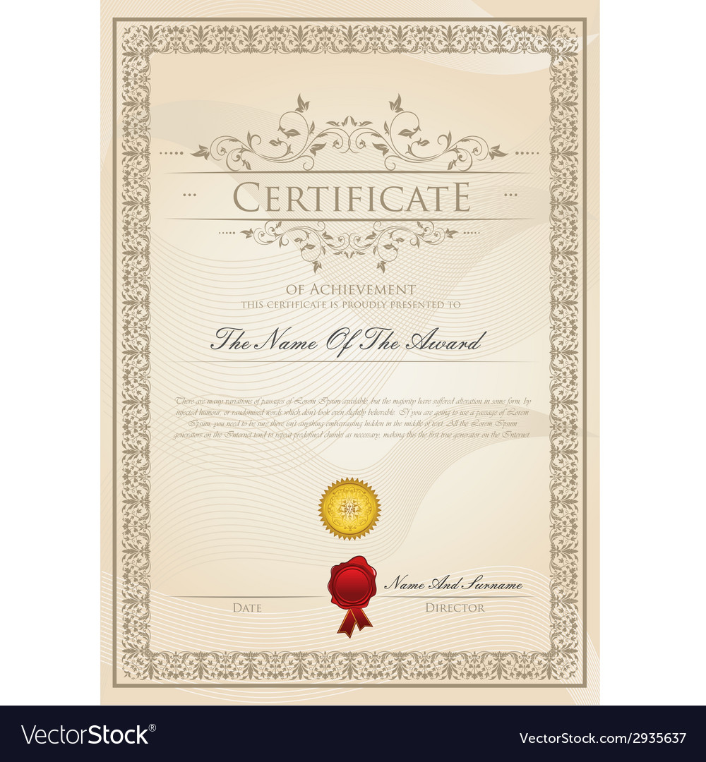 Certificate template design vector