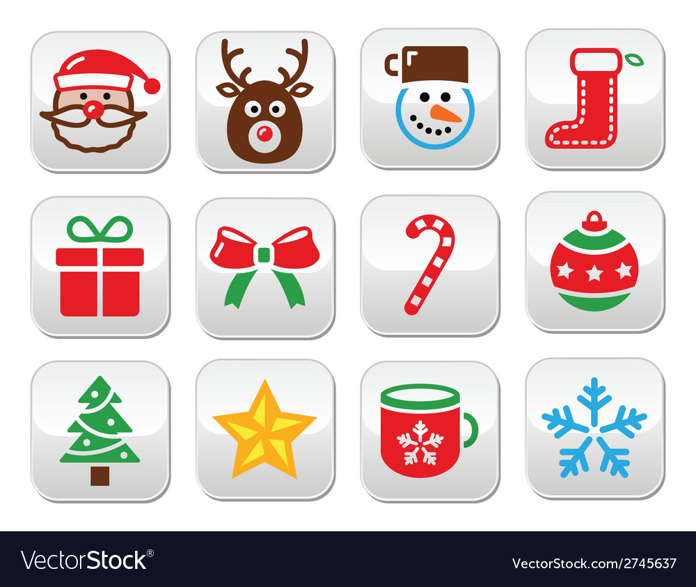 Christmas colorful buttons set - santa present t vector | Price: 1 Credit (USD $1)