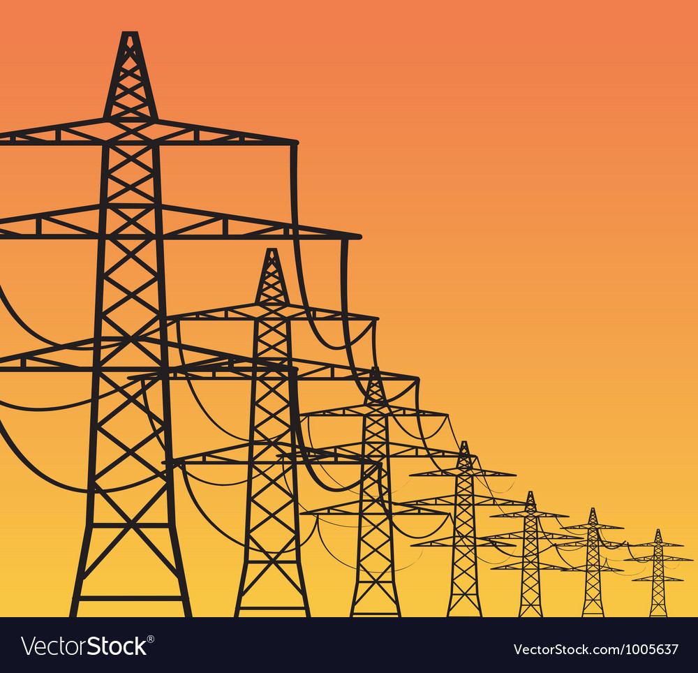Electricity pylons vector | Price: 1 Credit (USD $1)