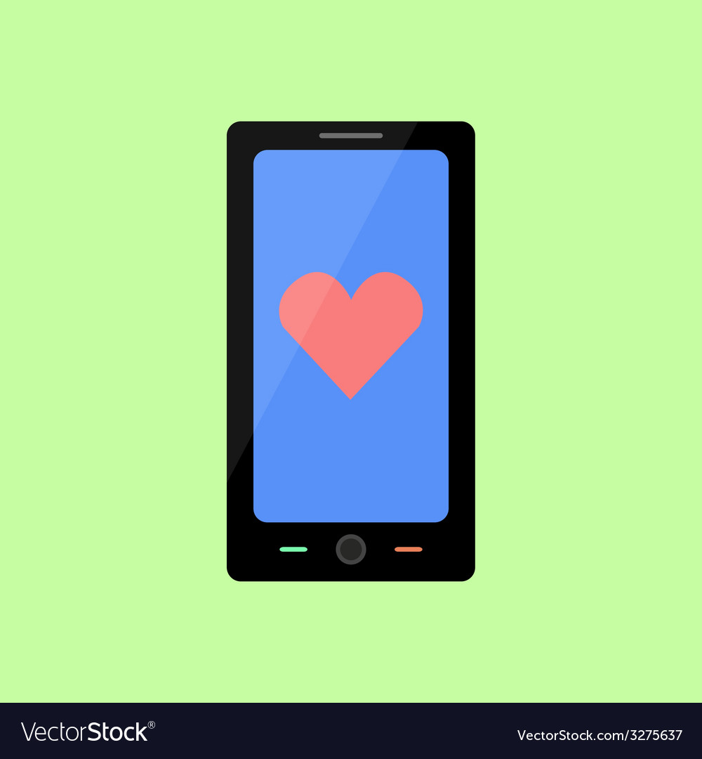 Flat style smart phone with heart vector | Price: 1 Credit (USD $1)
