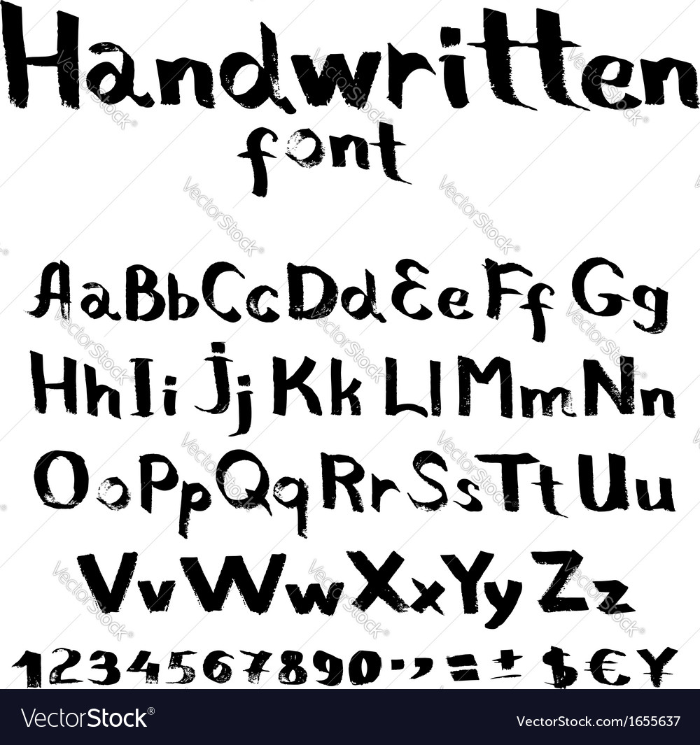 Handwritten font with a flat brush and ink vector | Price: 1 Credit (USD $1)