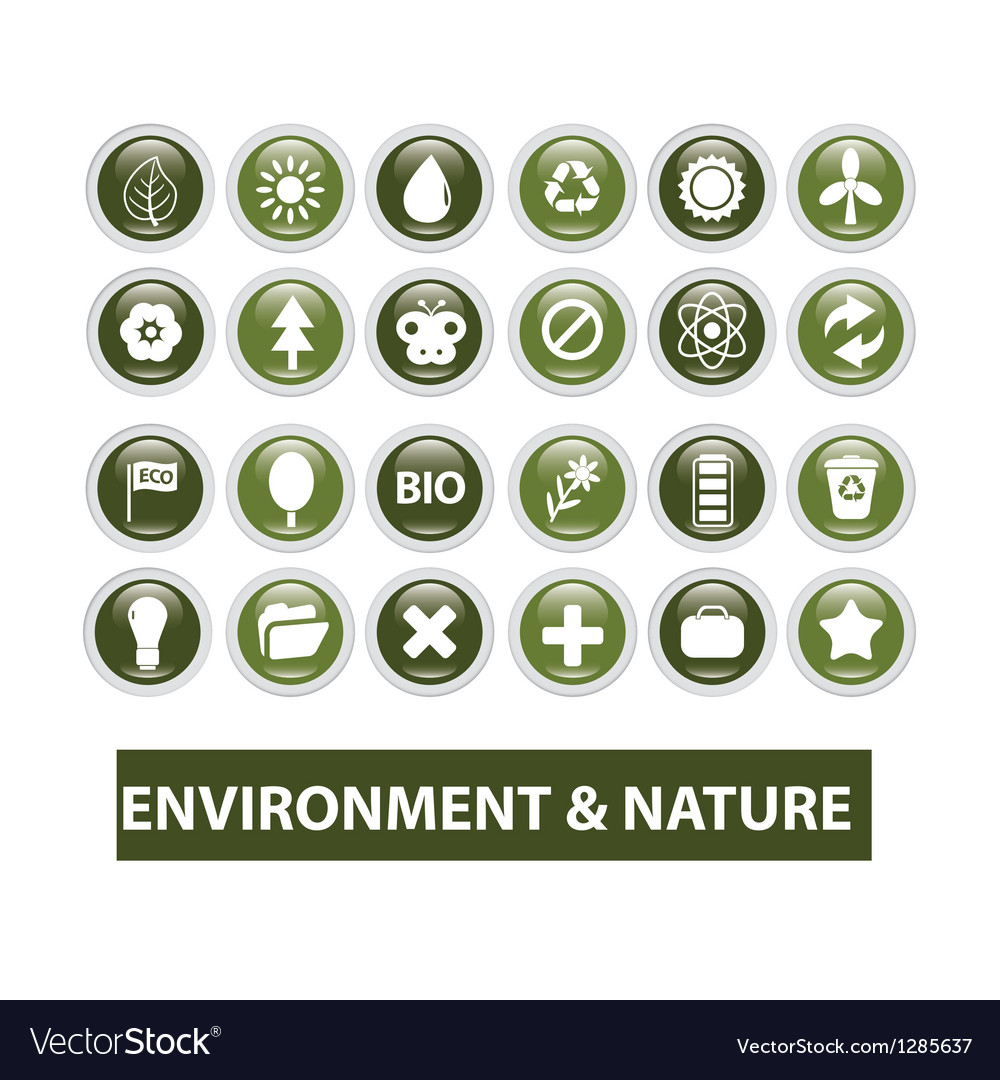 Nature ecology glossy buttons set vector | Price: 1 Credit (USD $1)