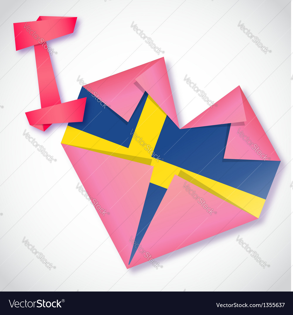 Origami paper i love sweden heart card vector | Price: 1 Credit (USD $1)