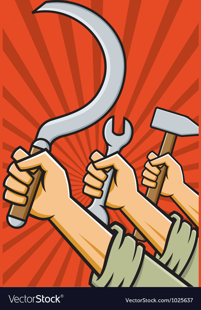 Raised fists holding tools vector | Price: 1 Credit (USD $1)