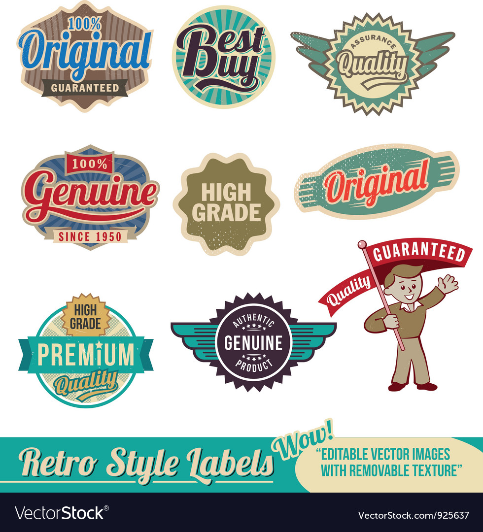 Retro label set vector | Price: 3 Credit (USD $3)