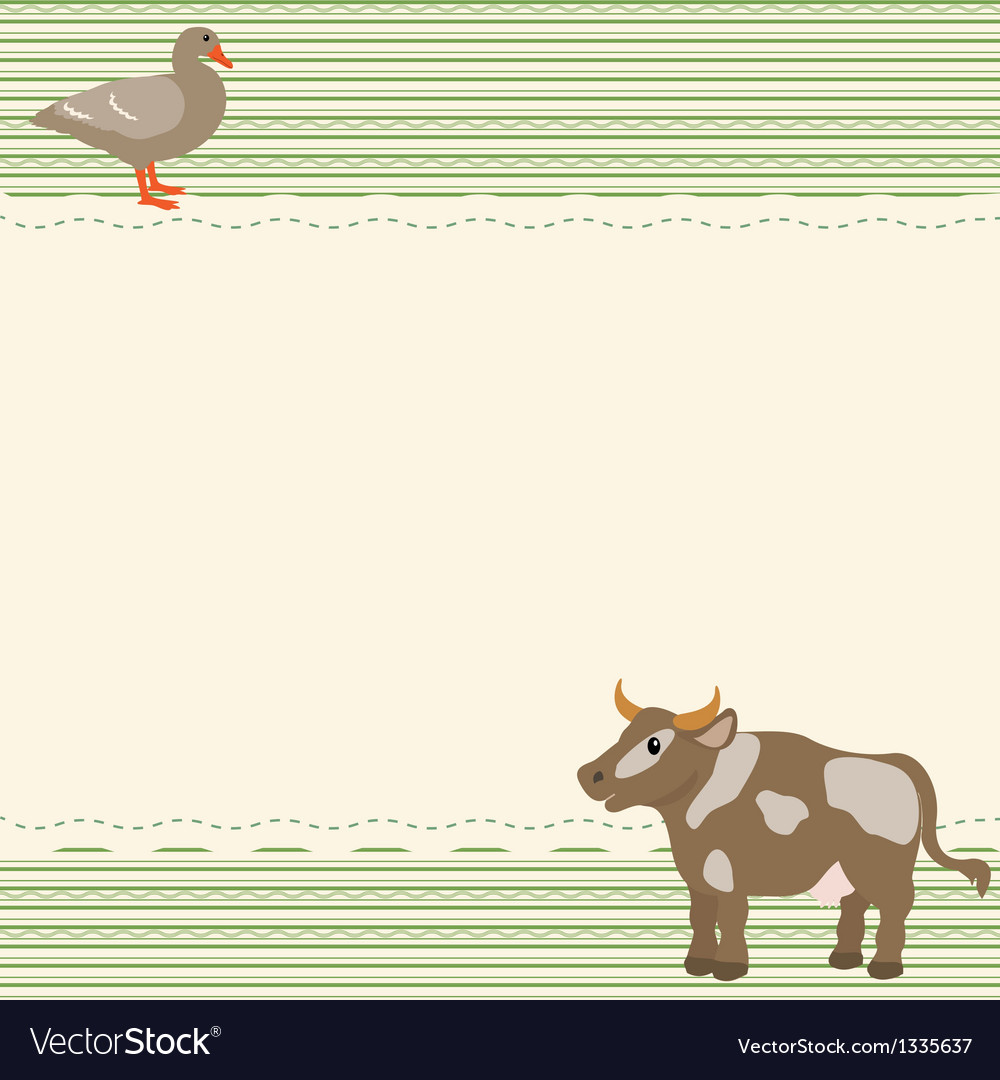 Rural style card with cow and goose vector | Price: 1 Credit (USD $1)
