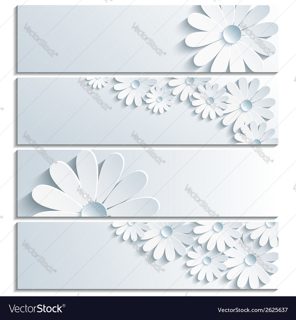 Set of grey banner with 3d chamomile vector | Price: 1 Credit (USD $1)