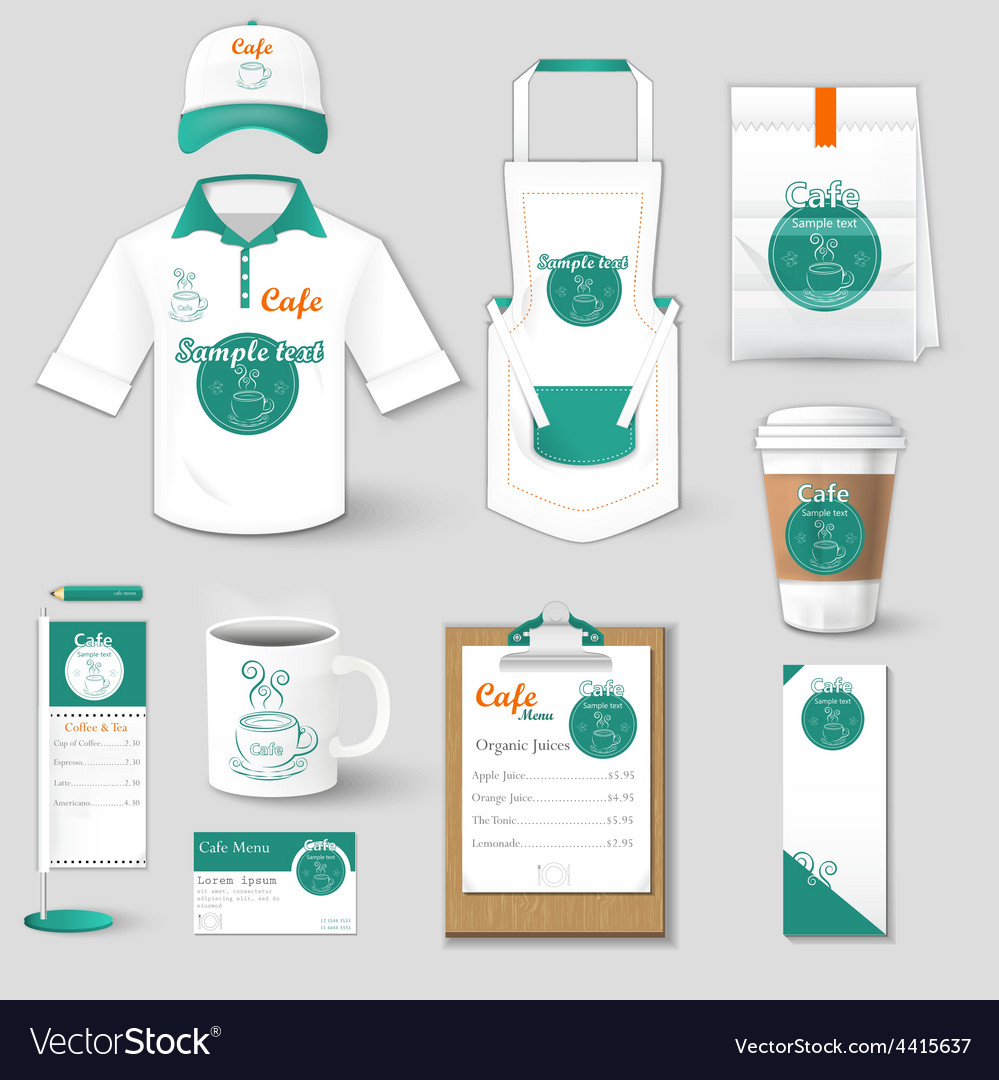 Set of restaurant corporate identity shirt cup vector | Price: 1 Credit (USD $1)