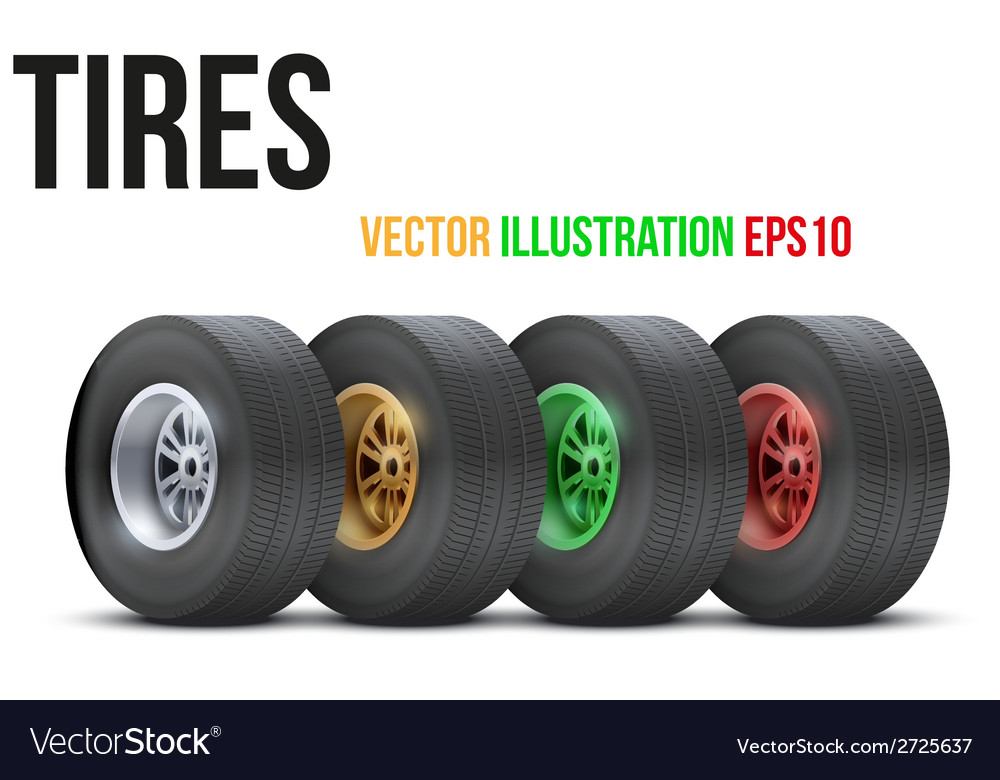 Set of sports car colorful wheels vector | Price: 1 Credit (USD $1)