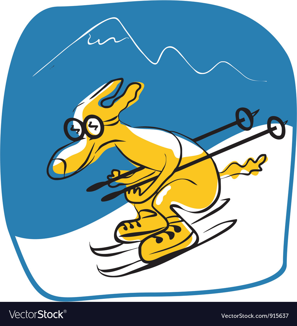 Skiing dog vector | Price: 1 Credit (USD $1)