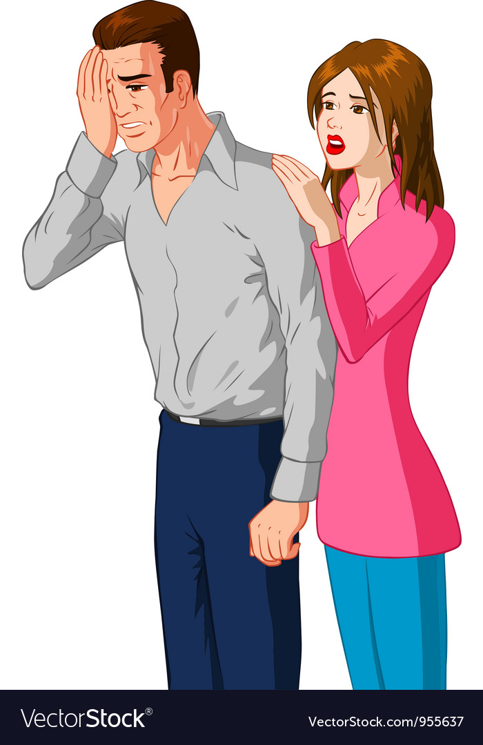 Woman comforting sad man vector | Price: 3 Credit (USD $3)