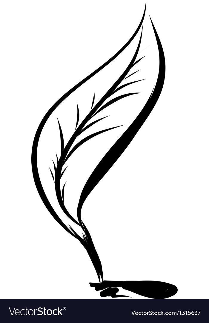 Writing quill with ink blot vector | Price: 1 Credit (USD $1)