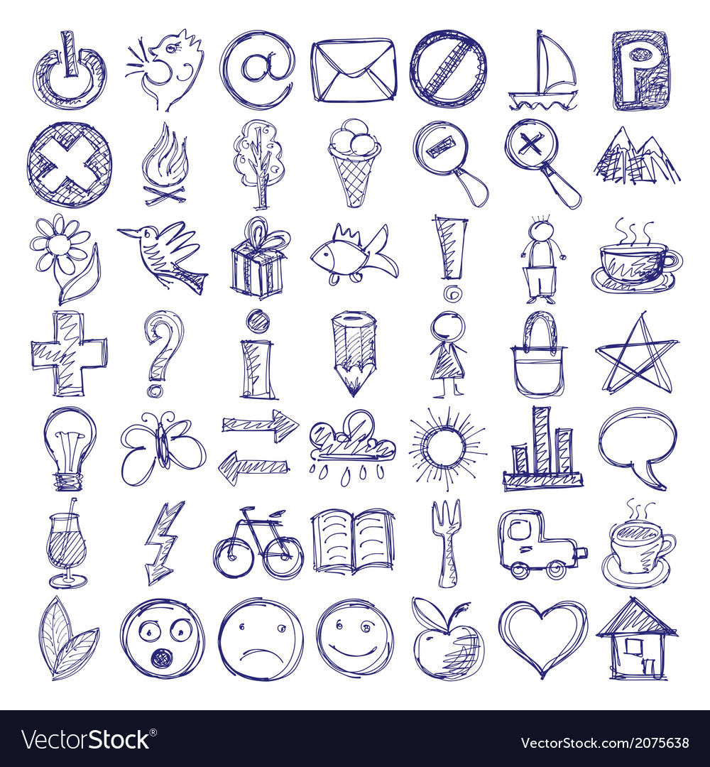 49 hand draw web doodle icon design elements vector | Price: 1 Credit (USD $1)