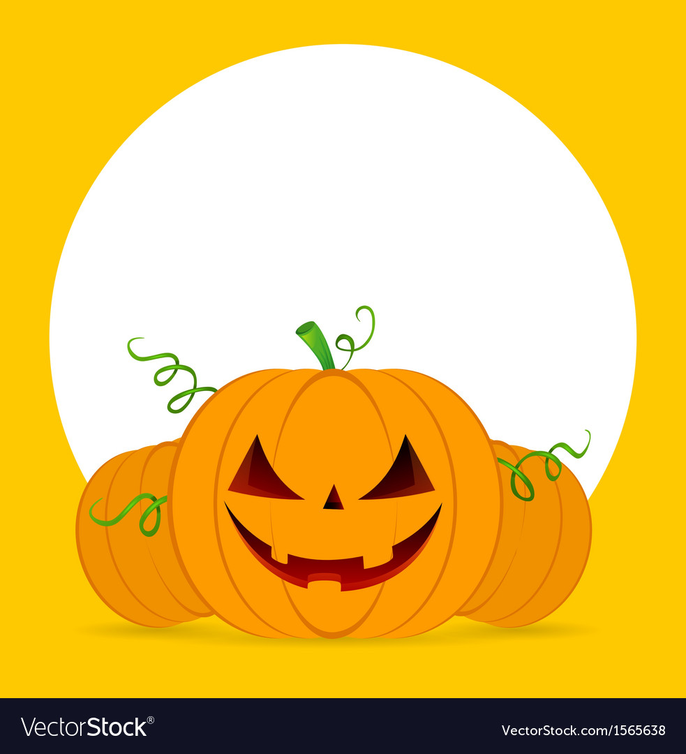 Halloween pumpkins on orange background vector | Price: 1 Credit (USD $1)