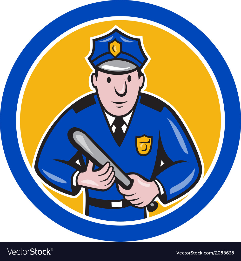 Policeman with night stick baton circle vector | Price: 1 Credit (USD $1)