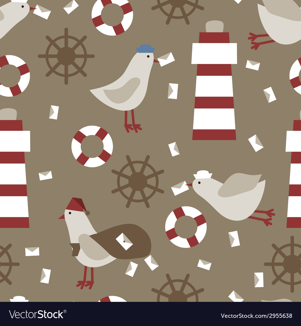 Seamless nautical retro pattern texture elements vector | Price: 1 Credit (USD $1)