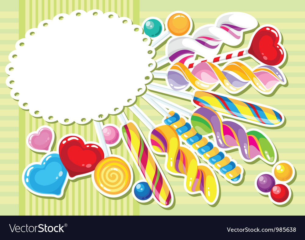 Sweets sticker background vector | Price: 1 Credit (USD $1)