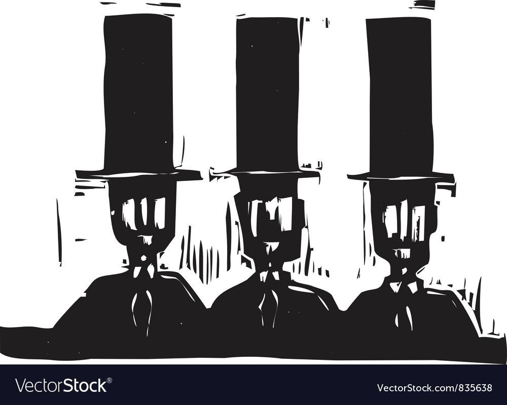 Three men in top hats vector | Price: 1 Credit (USD $1)