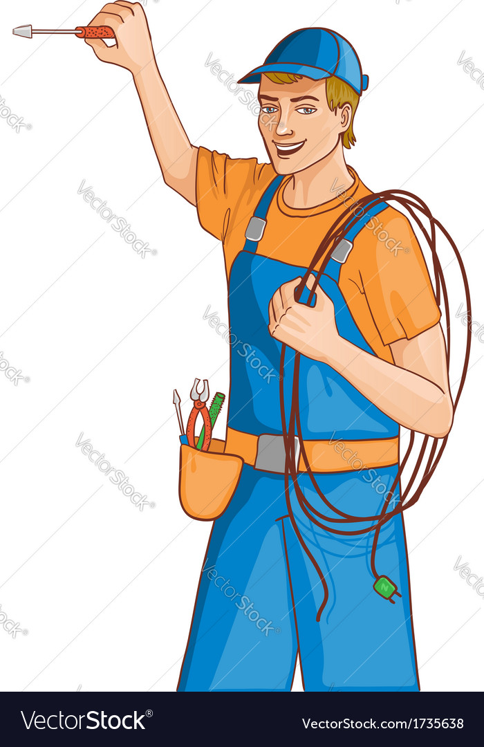Young cheerful electrician vector | Price: 1 Credit (USD $1)