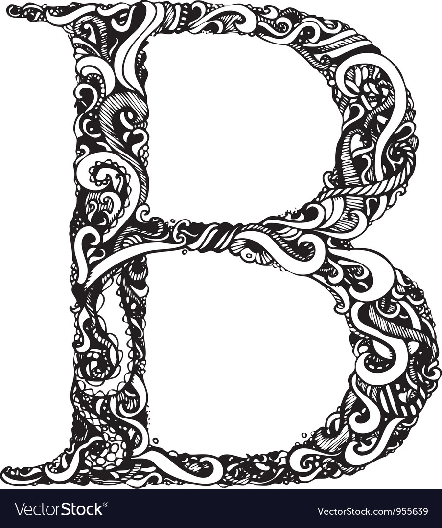 B letter capital black vector | Price: 1 Credit (USD $1)